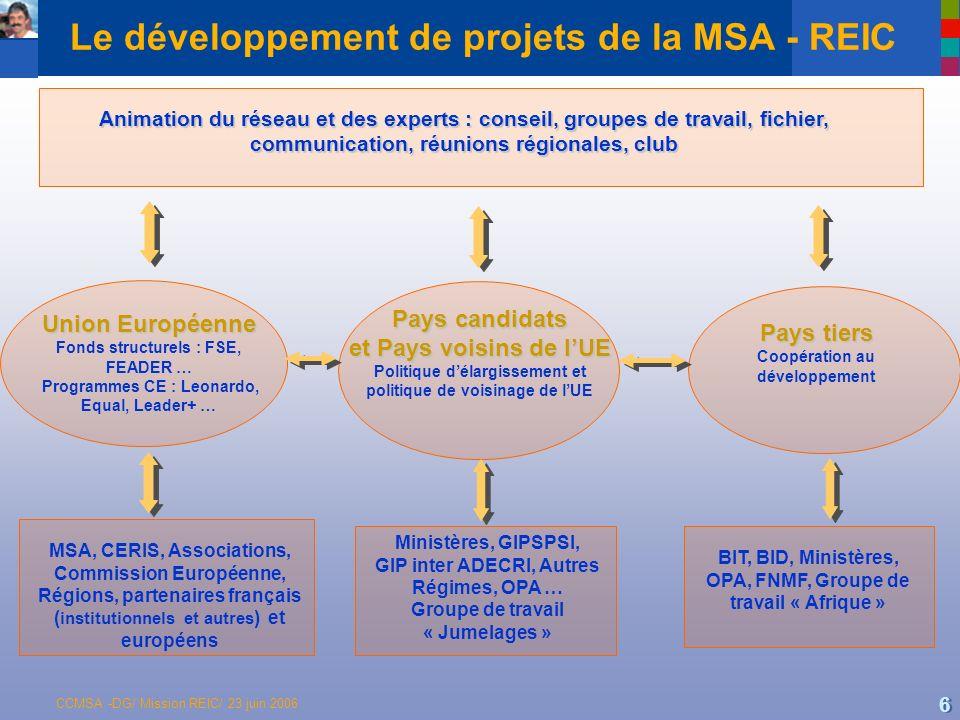 Le développement de projets de la MSA - REIC