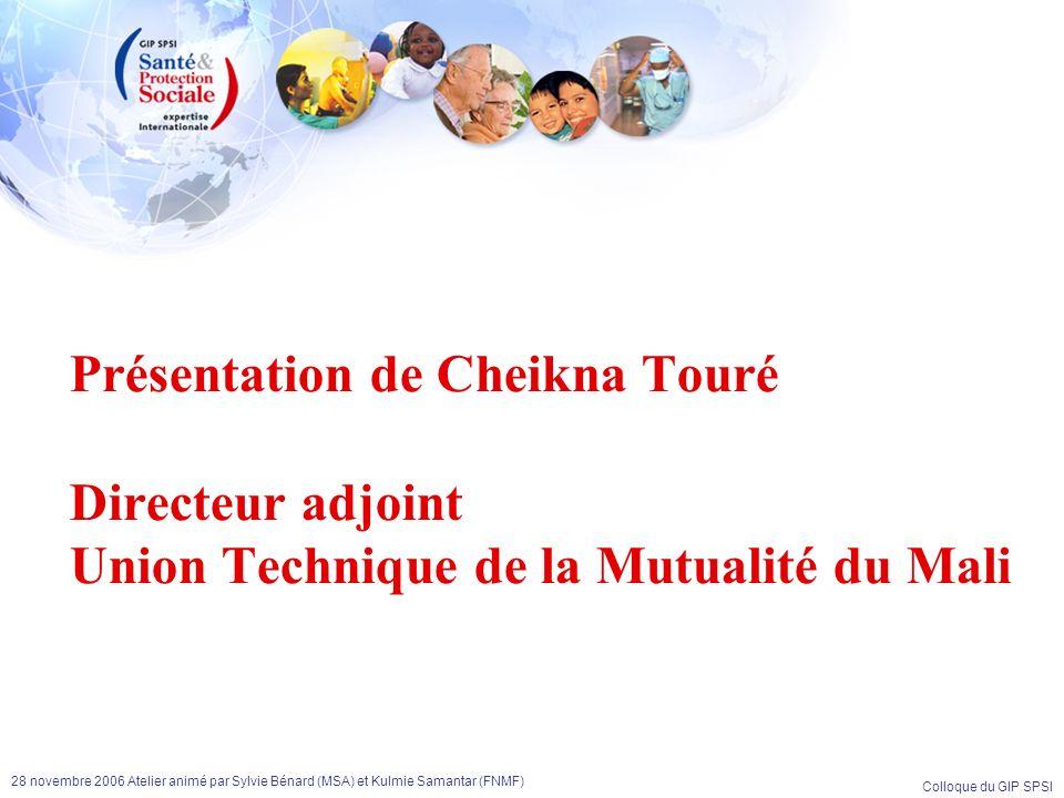 Présentation de Cheikna Touré Directeur adjoint Union Technique de la Mutualité du Mali