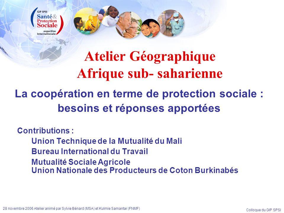 Atelier Géographique Afrique sub- saharienne