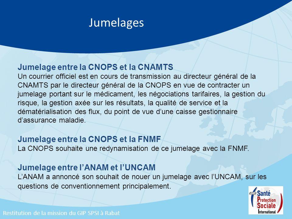 Jumelages Jumelage entre la CNOPS et la CNAMTS