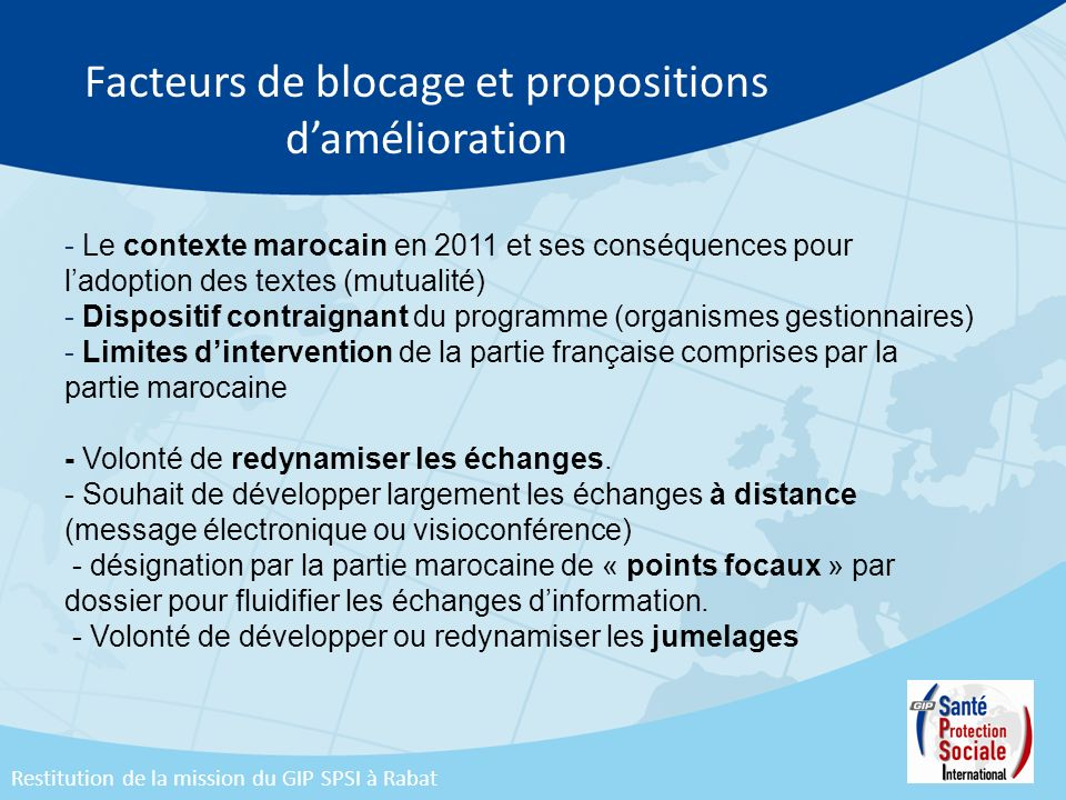 Facteurs de blocage et propositions d'amélioration