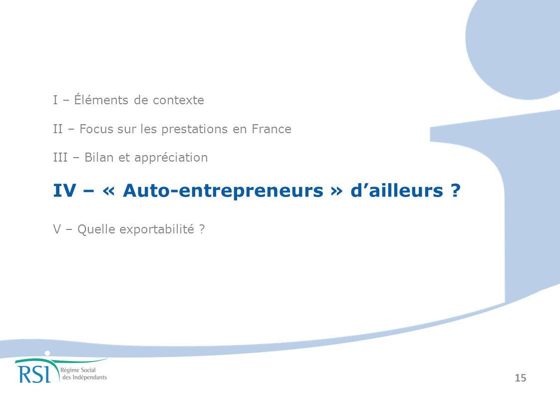 IV – « Auto-entrepreneurs » d'ailleurs