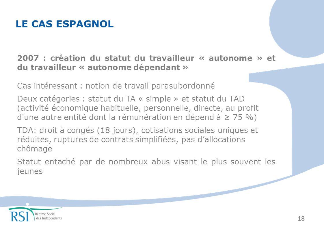 LE CAS ESPAGNOL 2007 : création du statut du travailleur « autonome » et du travailleur « autonome dépendant »