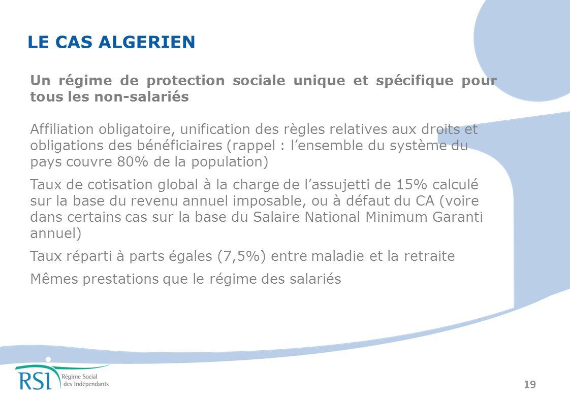 LE CAS ALGERIEN Un régime de protection sociale unique et spécifique pour tous les non-salariés.