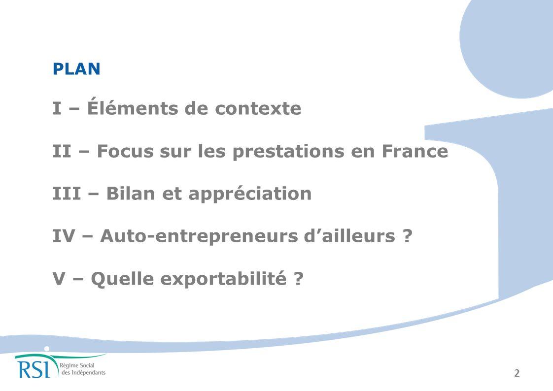I – Éléments de contexte II – Focus sur les prestations en France