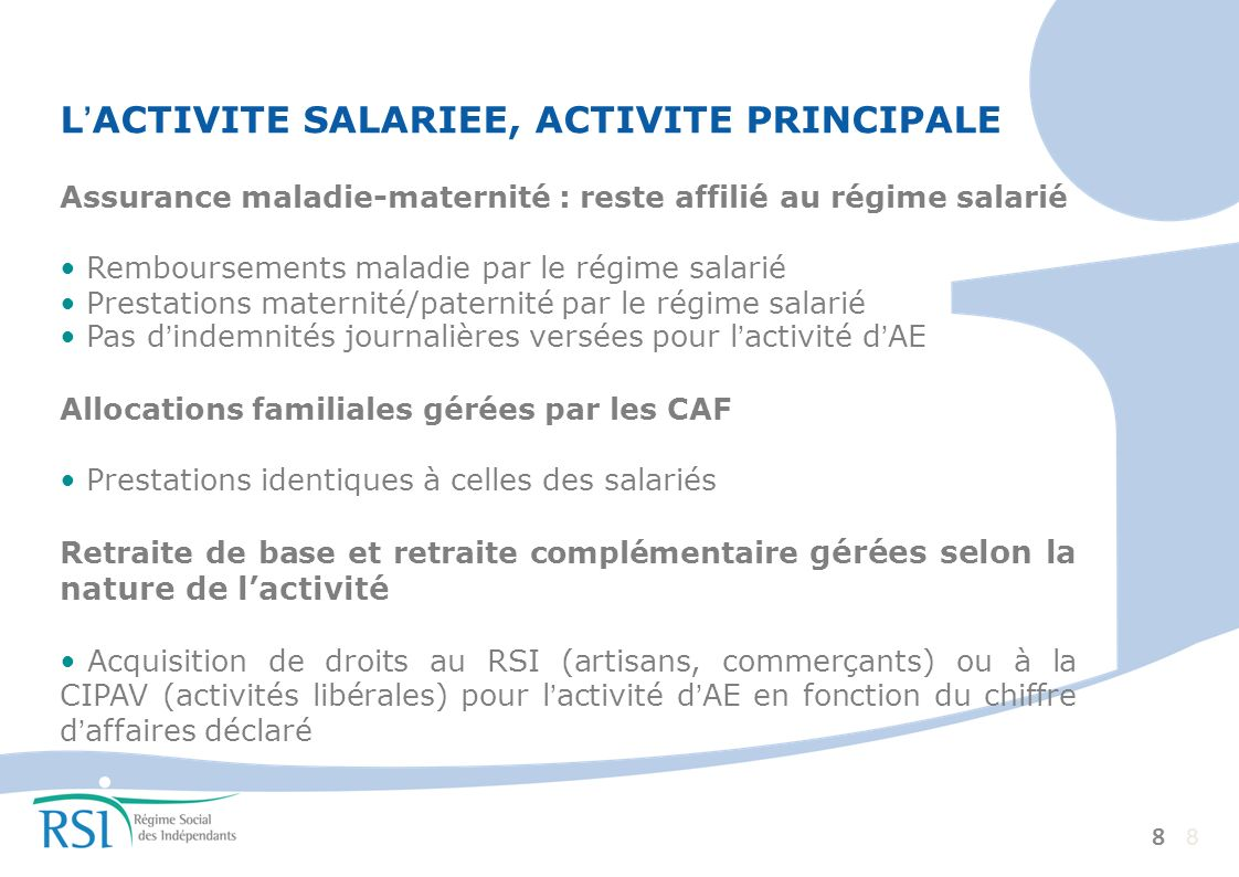 La protection sociale L'ACTIVITE SALARIEE, ACTIVITE PRINCIPALE