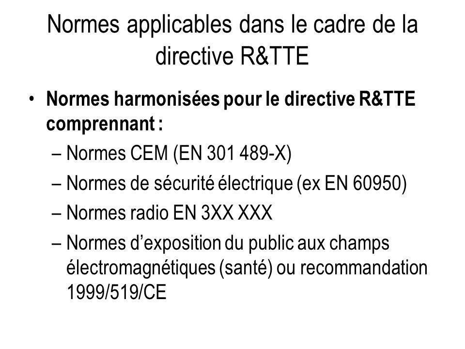 Normes applicables dans le cadre de la directive R&TTE