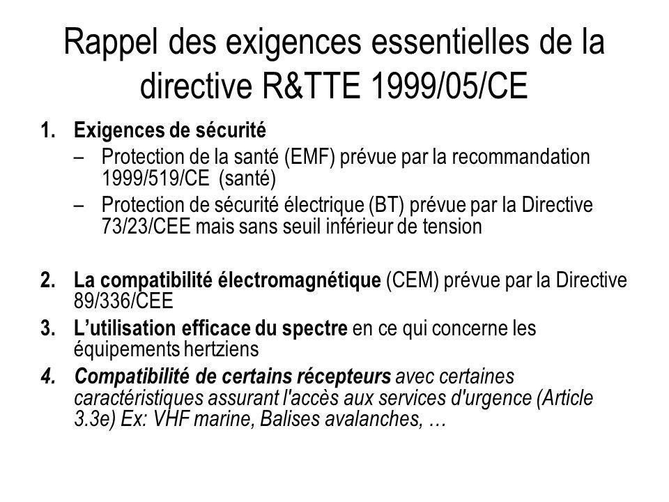 Rappel des exigences essentielles de la directive R&TTE 1999/05/CE
