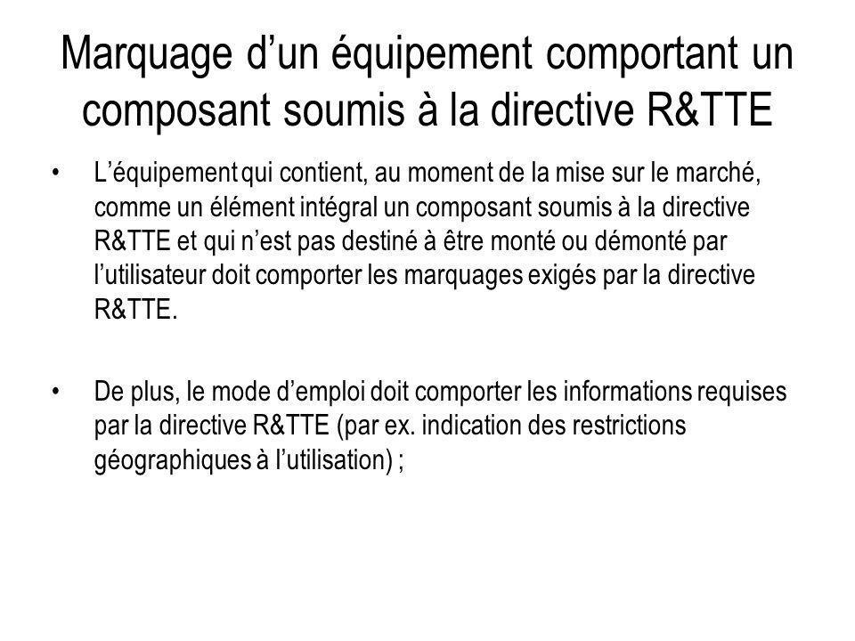 Marquage d'un équipement comportant un composant soumis à la directive R&TTE