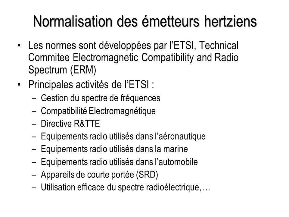 Normalisation des émetteurs hertziens