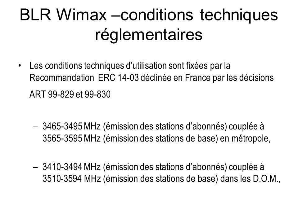 BLR Wimax –conditions techniques réglementaires