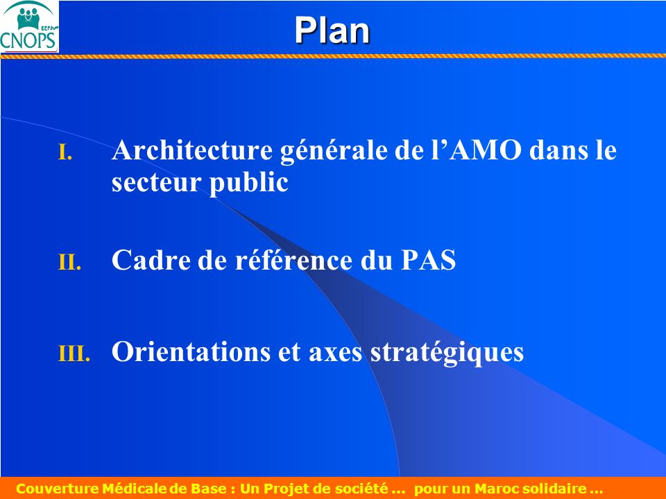 Plan Architecture générale de l'AMO dans le secteur public