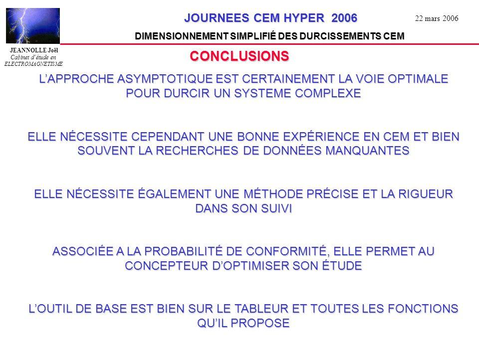 CONCLUSIONS L'APPROCHE ASYMPTOTIQUE EST CERTAINEMENT LA VOIE OPTIMALE POUR DURCIR UN SYSTEME COMPLEXE.