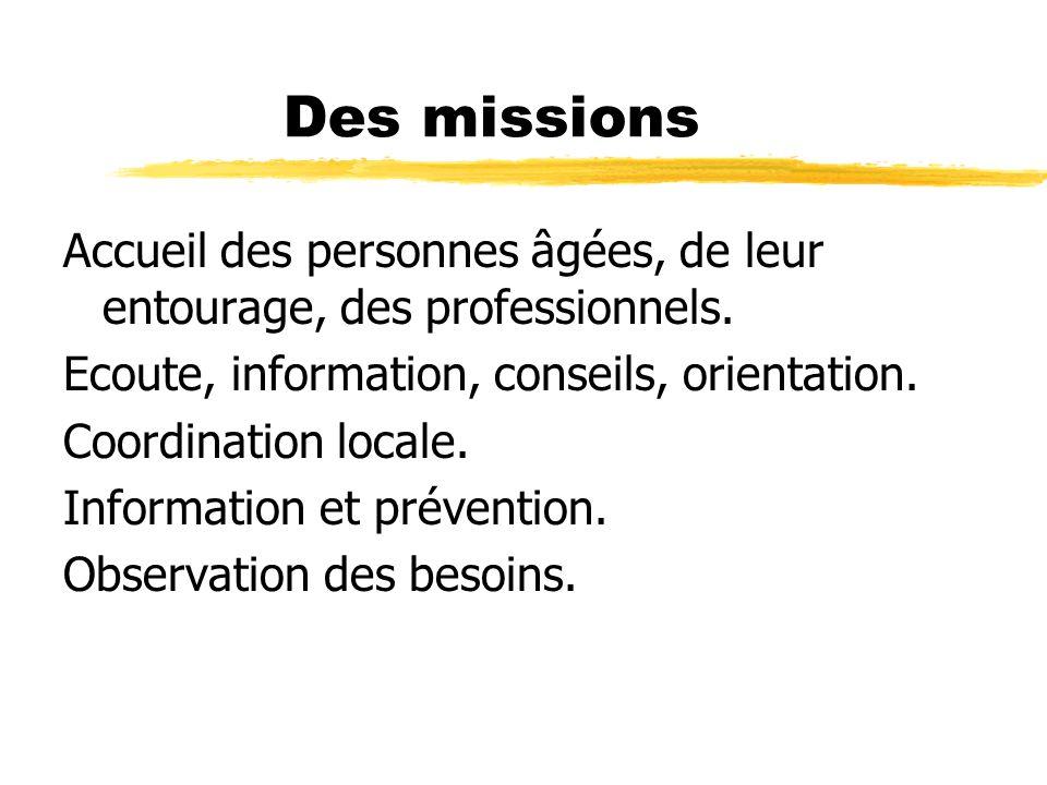 Des missions Accueil des personnes âgées, de leur entourage, des professionnels. Ecoute, information, conseils, orientation.