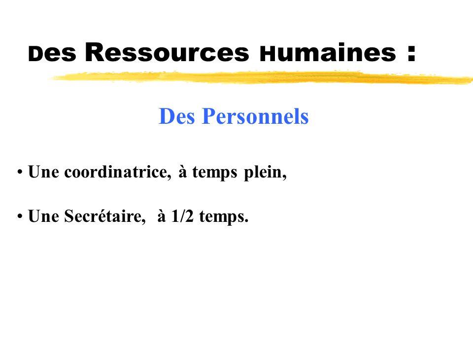 Des Ressources Humaines :