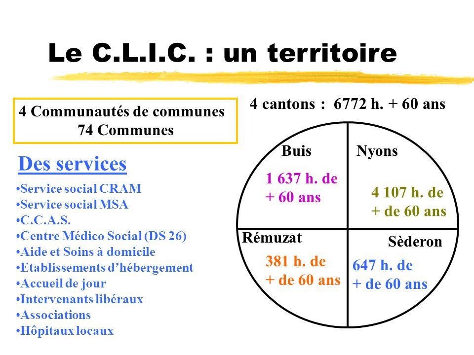 Le C.L.I.C. : un territoire Des services 4 cantons : 6772 h. + 60 ans