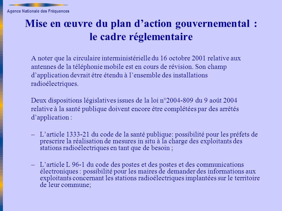 Mise en œuvre du plan d'action gouvernemental : le cadre réglementaire