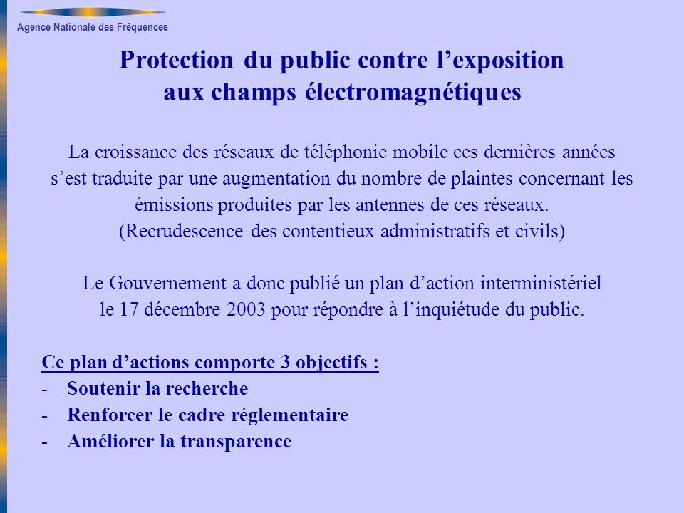 Protection du public contre l'exposition aux champs électromagnétiques