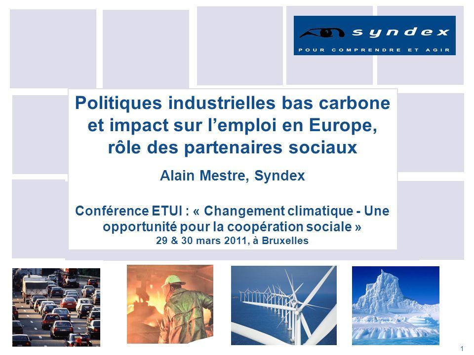 Politiques industrielles bas carbone et impact sur l'emploi en Europe, rôle des partenaires sociaux