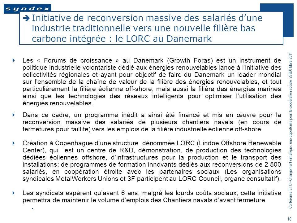 Initiative de reconversion massive des salariés d'une industrie traditionnelle vers une nouvelle filière bas carbone intégrée : le LORC au Danemark