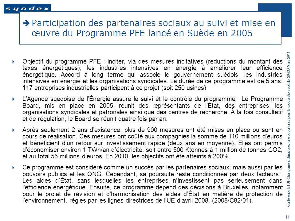 Participation des partenaires sociaux au suivi et mise en œuvre du Programme PFE lancé en Suède en 2005