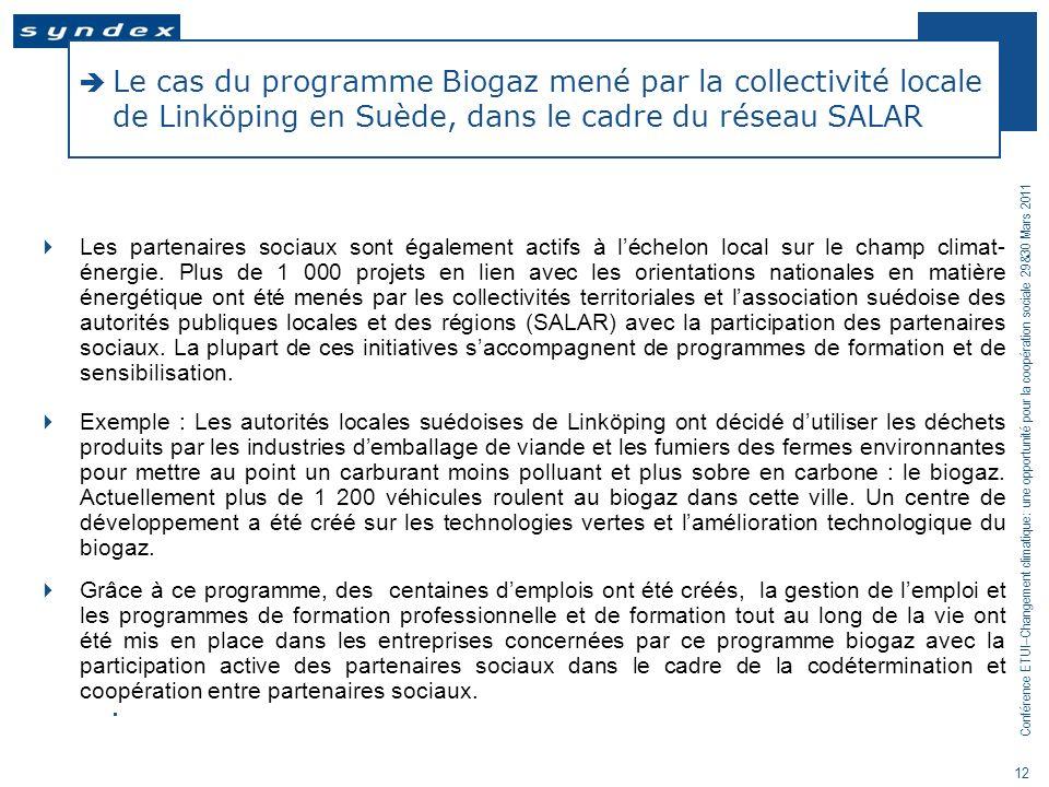 Le cas du programme Biogaz mené par la collectivité locale de Linköping en Suède, dans le cadre du réseau SALAR