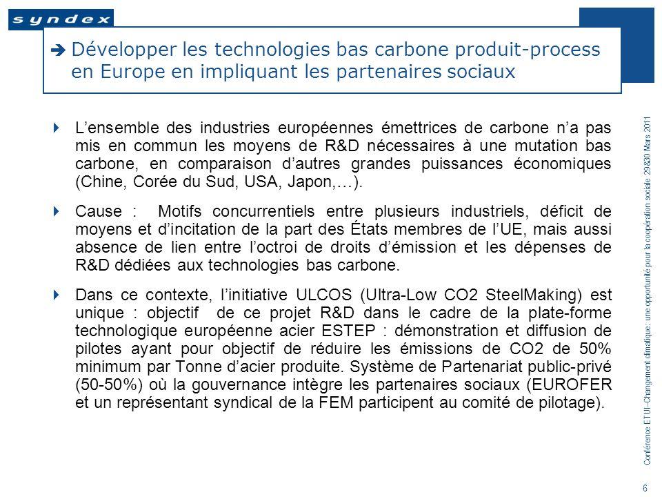 Développer les technologies bas carbone produit-process en Europe en impliquant les partenaires sociaux