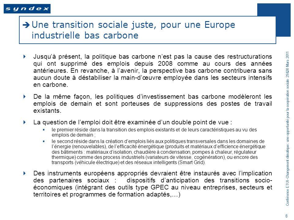 Une transition sociale juste, pour une Europe industrielle bas carbone