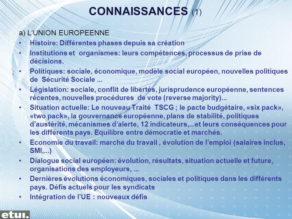 CONNAISSANCES (1) a) L'UNION EUROPEENNE