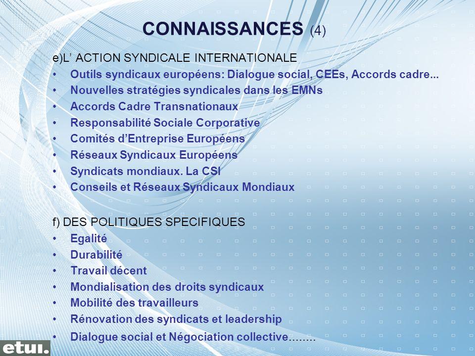 CONNAISSANCES (4) e)L' ACTION SYNDICALE INTERNATIONALE