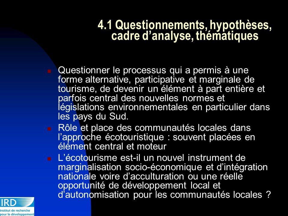 4.1 Questionnements, hypothèses, cadre d'analyse, thématiques