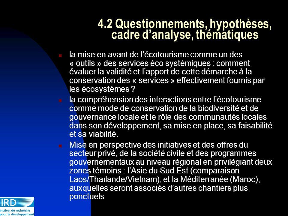 4.2 Questionnements, hypothèses, cadre d'analyse, thématiques