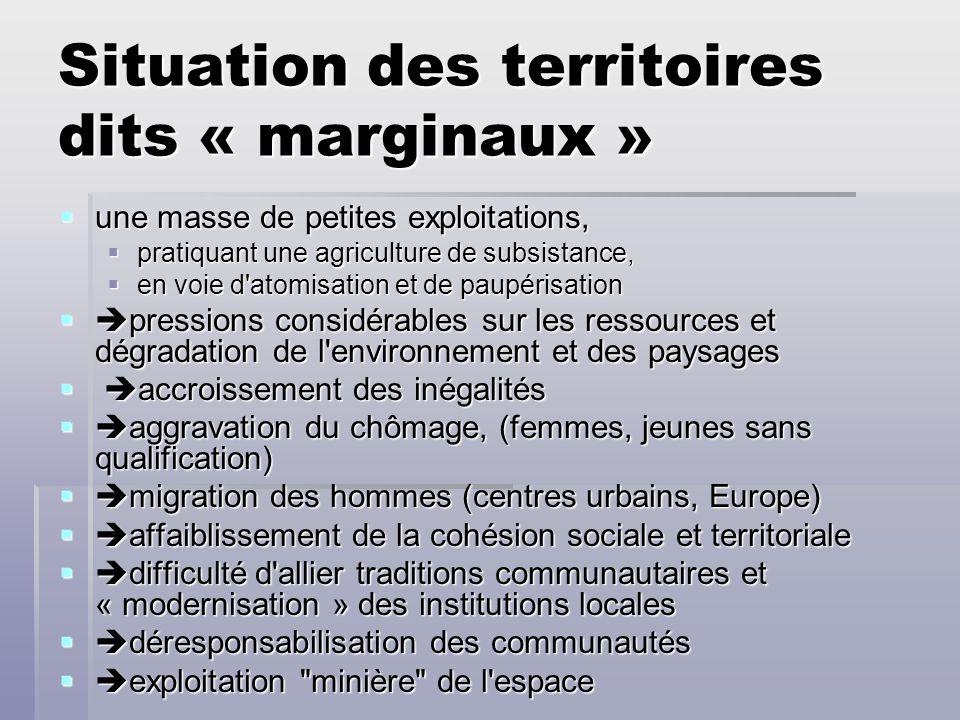 Situation des territoires dits « marginaux »
