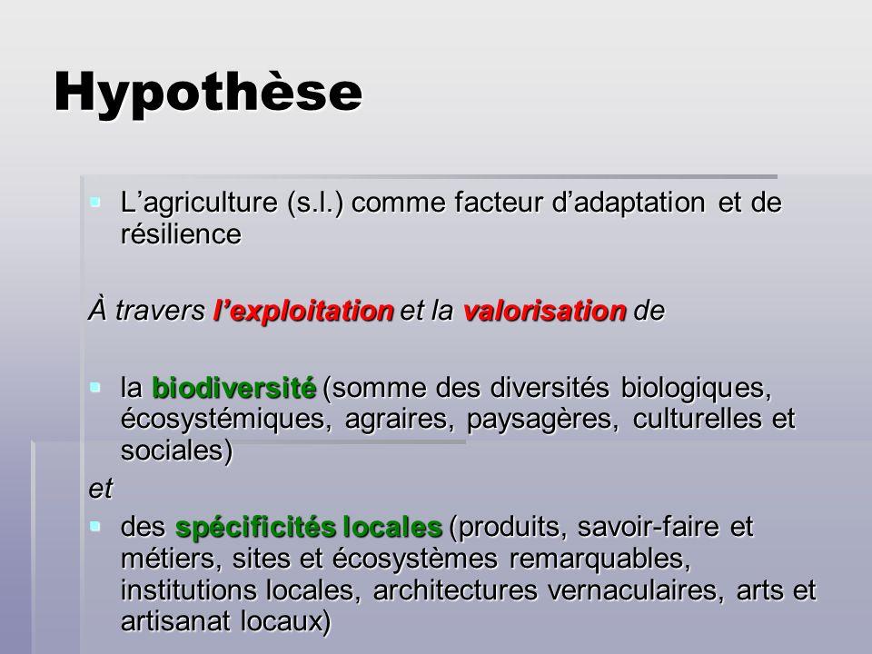 Hypothèse L'agriculture (s.l.) comme facteur d'adaptation et de résilience. À travers l'exploitation et la valorisation de.
