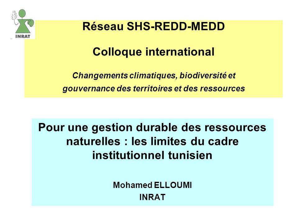 Réseau SHS-REDD-MEDD Colloque international Changements climatiques, biodiversité et gouvernance des territoires et des ressources
