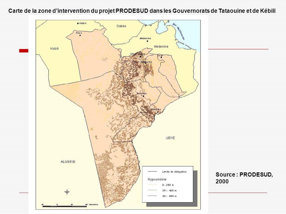 Carte de la zone d'intervention du projet PRODESUD dans les Gouvernorats de Tataouine et de Kébili