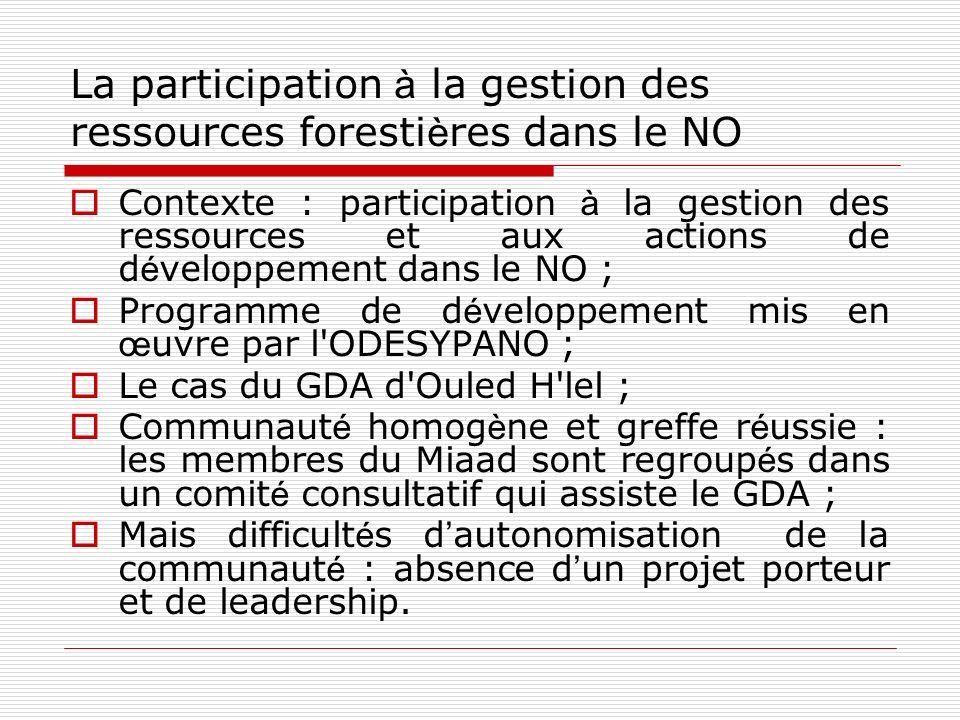 La participation à la gestion des ressources forestières dans le NO