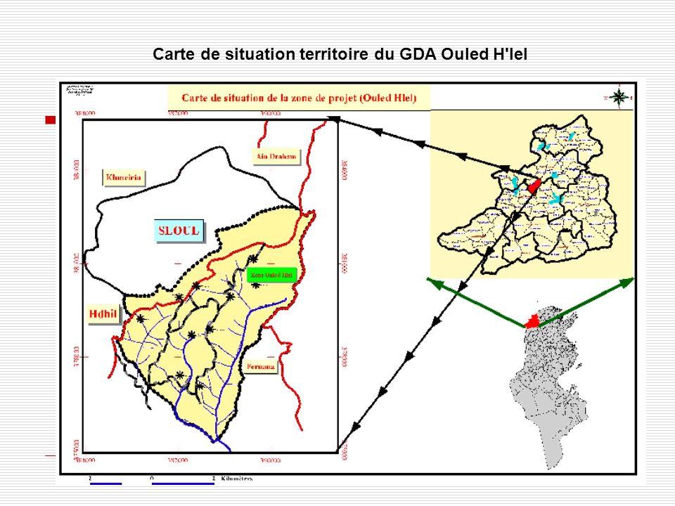 Carte de situation territoire du GDA Ouled H lel