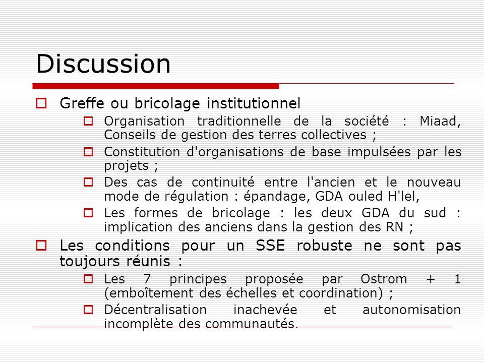 Discussion Greffe ou bricolage institutionnel