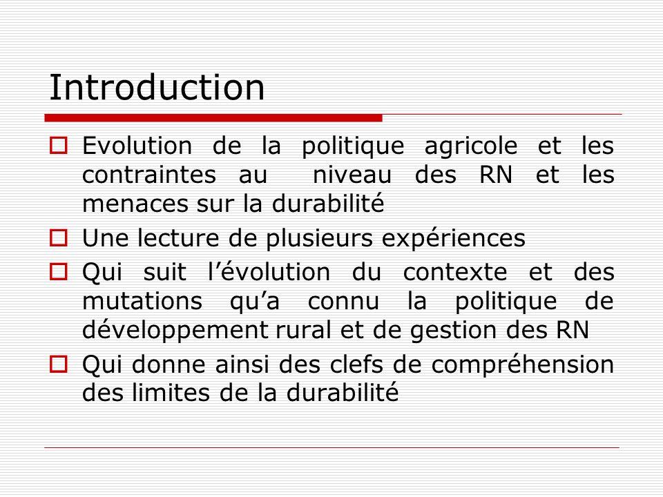 Introduction Evolution de la politique agricole et les contraintes au niveau des RN et les menaces sur la durabilité.