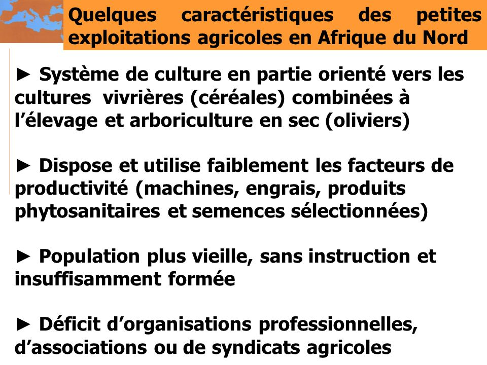 Quelques caractéristiques des petites exploitations agricoles en Afrique du Nord