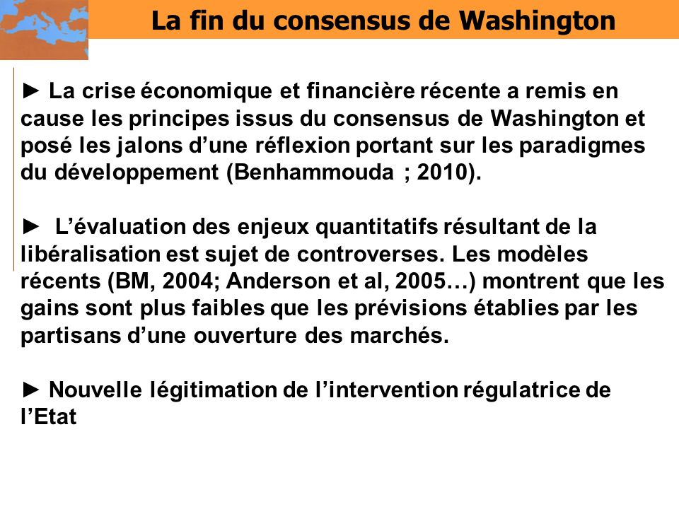 La fin du consensus de Washington