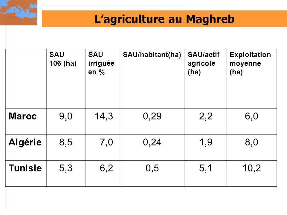 L'agriculture au Maghreb