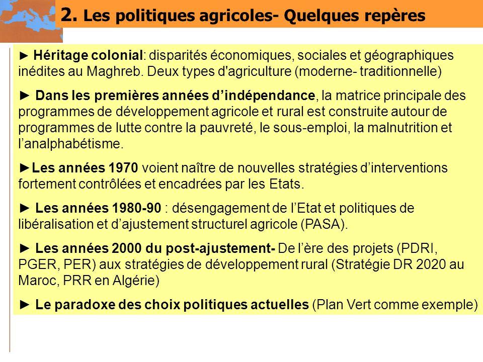 2. Les politiques agricoles- Quelques repères