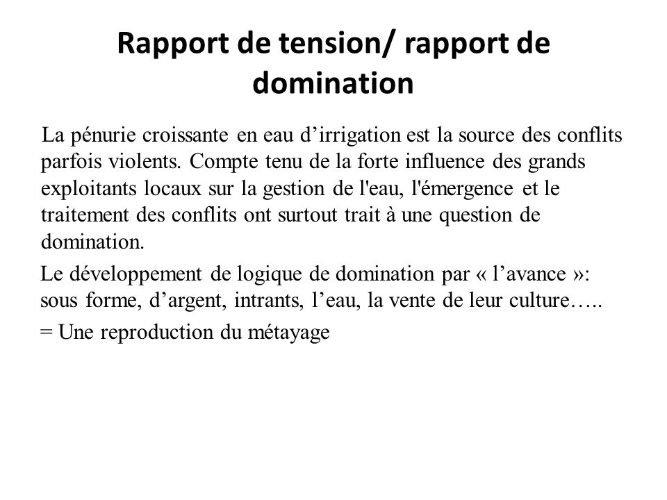 Rapport de tension/ rapport de domination