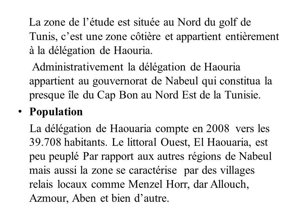 La zone de l'étude est située au Nord du golf de Tunis, c'est une zone côtière et appartient entièrement à la délégation de Haouria.