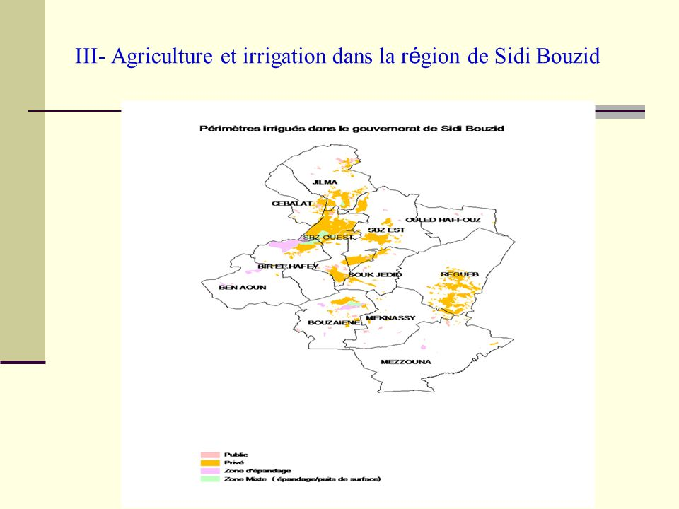 III- Agriculture et irrigation dans la région de Sidi Bouzid