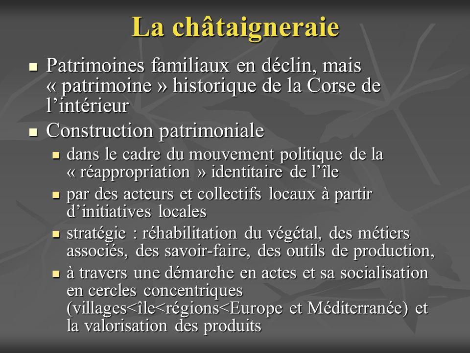 La châtaigneraie Patrimoines familiaux en déclin, mais « patrimoine » historique de la Corse de l'intérieur.
