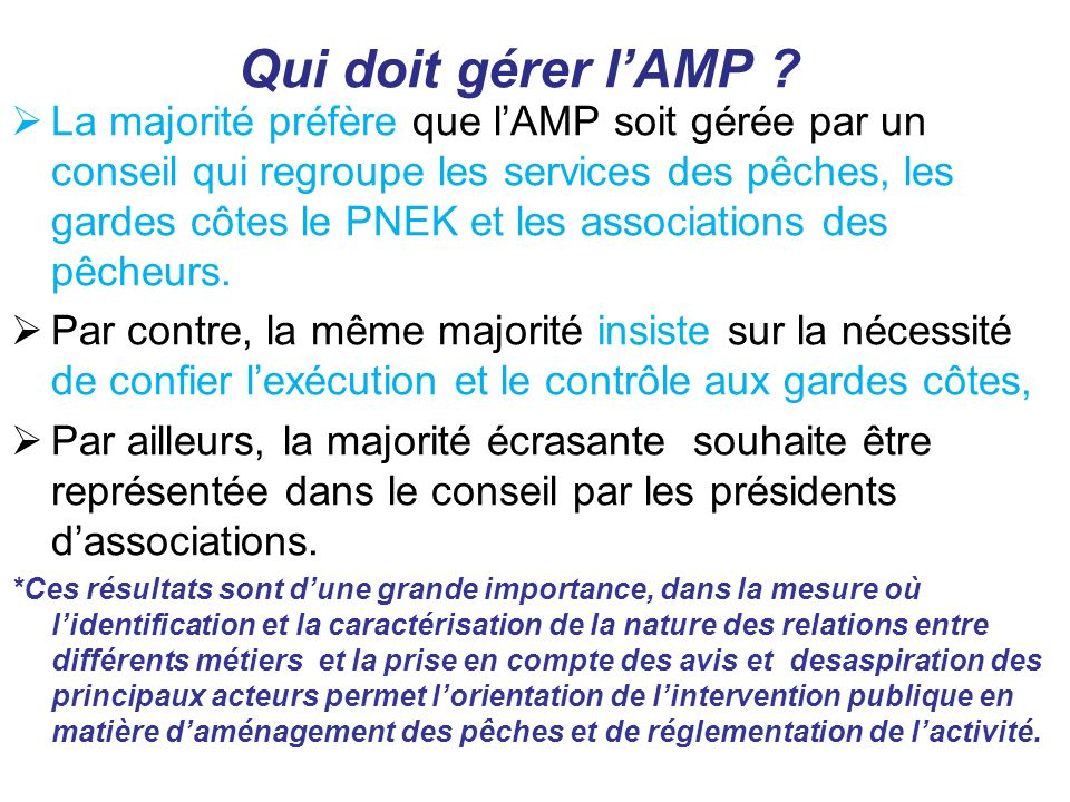 Qui doit gérer l'AMP