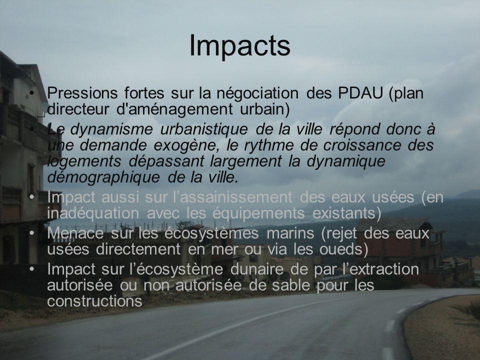Impacts Pressions fortes sur la négociation des PDAU (plan directeur d aménagement urbain)